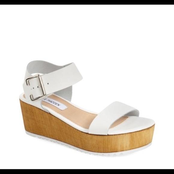 steve madden white platform heels